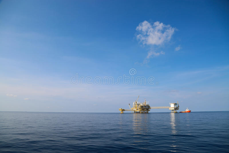 Offshore oil and gas production and exploration business. Production oil and gas plant and main construction platform in the sea. Energy business stock photography