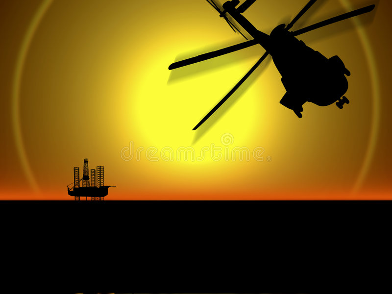OFFSHORE OIL GAS INDUSTRY DRILLING RIG ENERGY ENVIRONMENT TECHNOLOGY. Helicopter approaching offshore oil drilling rig to make a crew change vector illustration