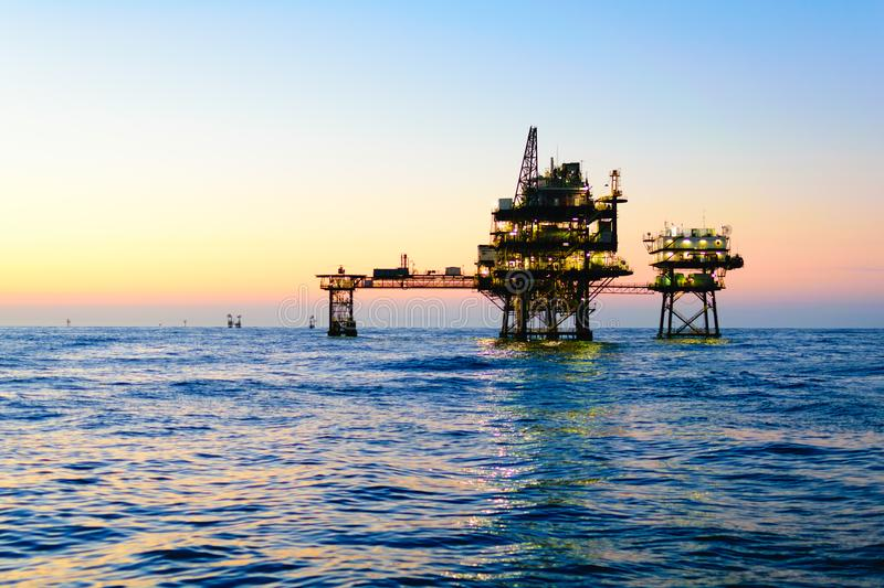 Offshore Oil Platform. An offshore oil platform in the Gulf of Mexico off the coast of Louisiana used in the oil and gas industry royalty free stock image
