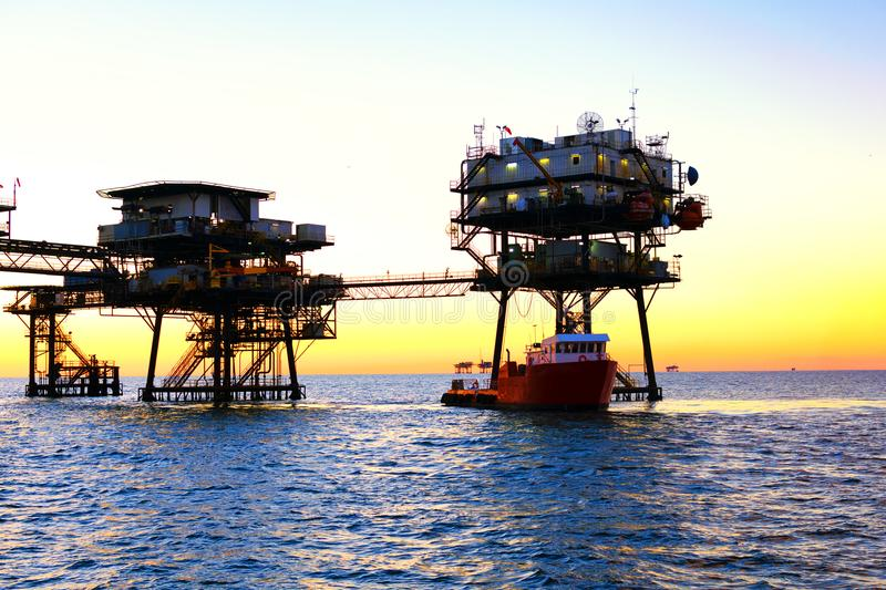 Offshore Oil Platform. An offshore oil platform in the Gulf of Mexico off the coast of Louisiana used in the oil and gas industry royalty free stock photo
