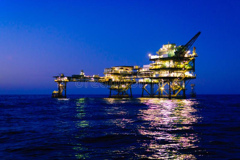 Offshore Oil Platform. An offshore oil platform in the Gulf of Mexico off the coast of Louisiana used in the oil and gas industry stock images
