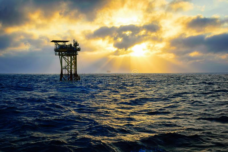 Offshore Oil Platform. S in the Gulf of Mexico near Louisiana stock photography