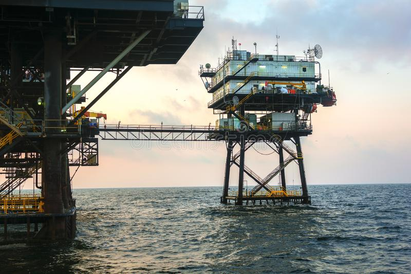 Offshore Oil Platform. An offshore petroleum platform used in the oil and gas industry in the Gulf of Mexico stock photos