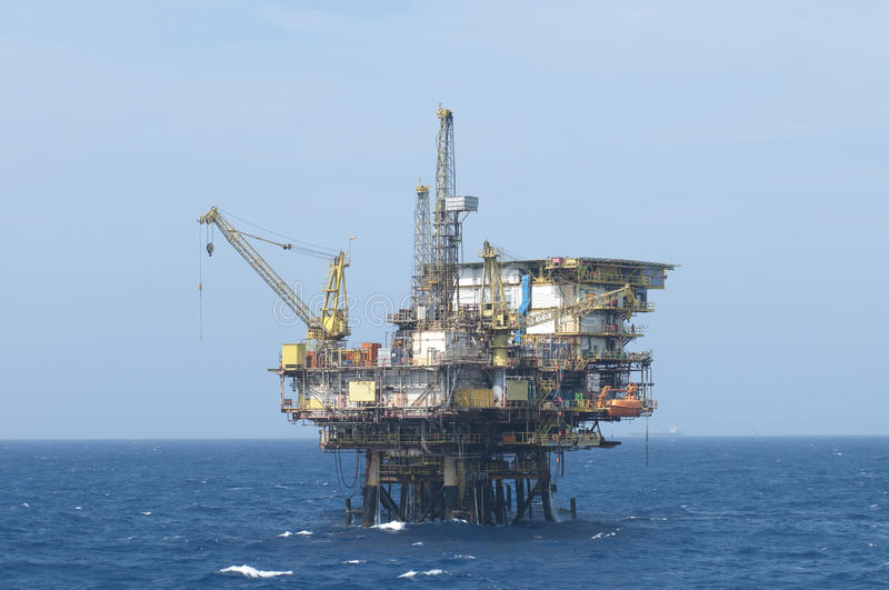 Offshore oil rig. Offshore oil production rig. Coast of Brazil royalty free stock images