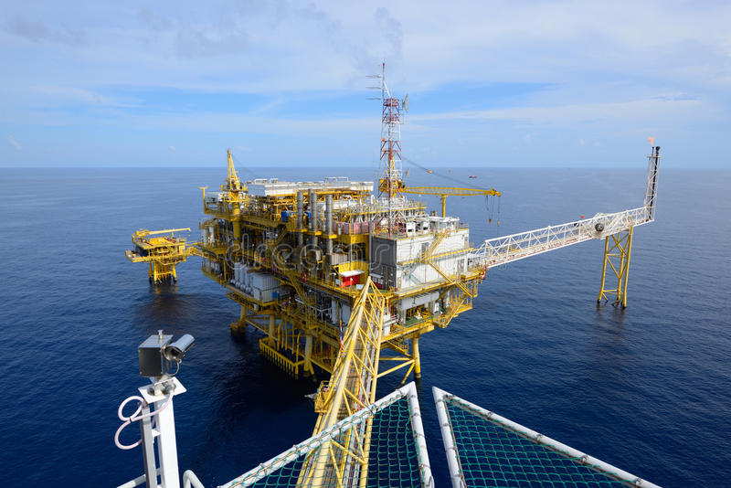 The offshore oil rig. Drilling platform stock images