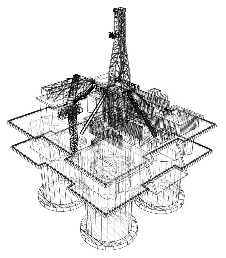 Offshore oil rig drilling platform concept vector illustration
