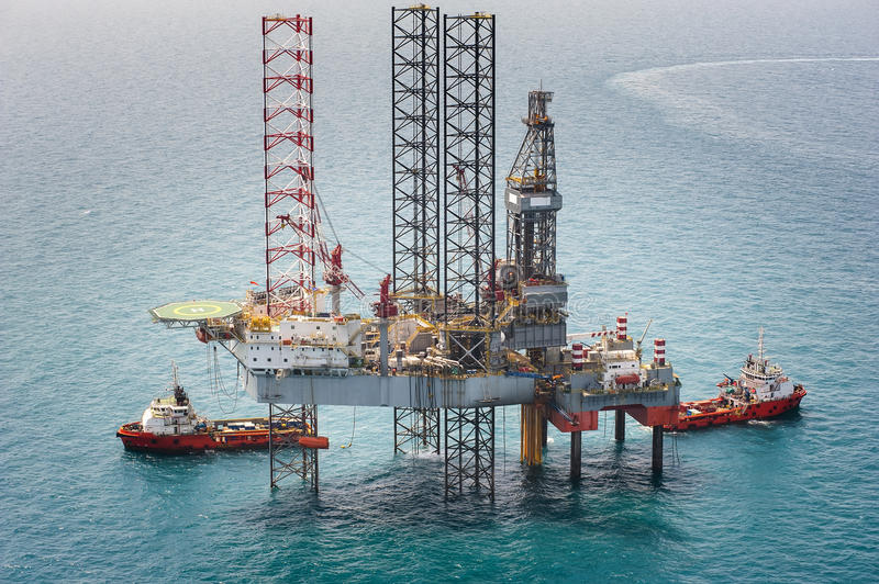 Offshore oil rig drilling platform royalty free stock photography