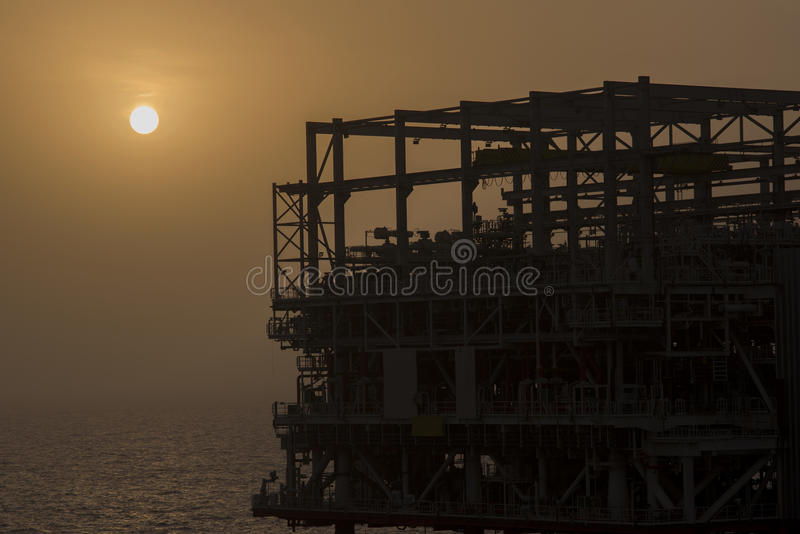 Offshore oil rig under construction royalty free stock photography