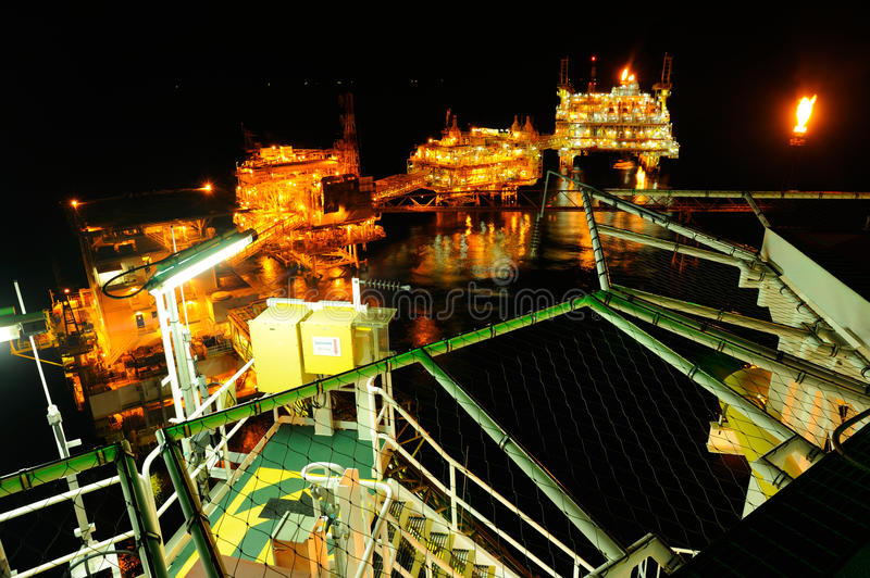An offshore platform at night stock images