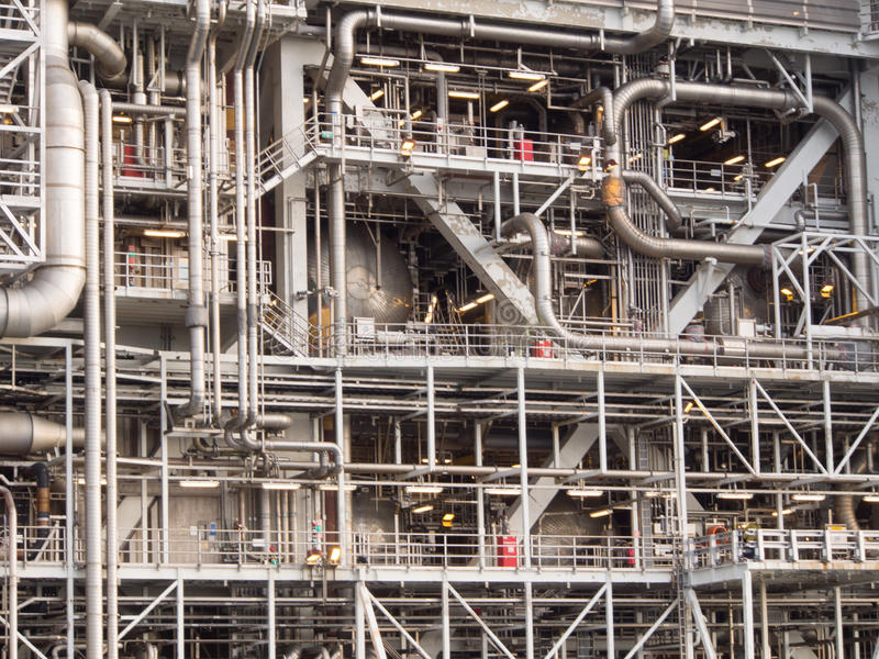 Offshore platform. Piping and steel constructions on an offshore platform in the North Sea stock photos