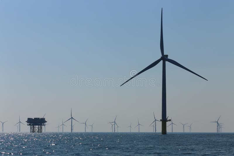 Offshore platform windmills of Rampion windfarm off the coast of Brighton, Sussex, UK royalty free stock image
