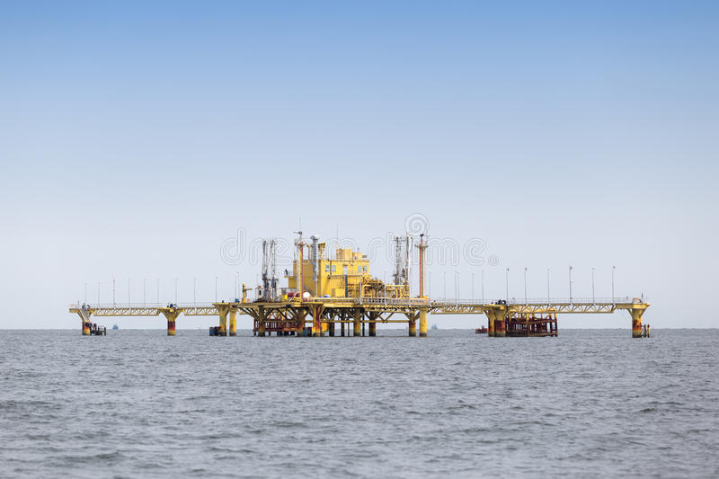 Offshore Production Platform In the Middle of Ocean. royalty free stock images
