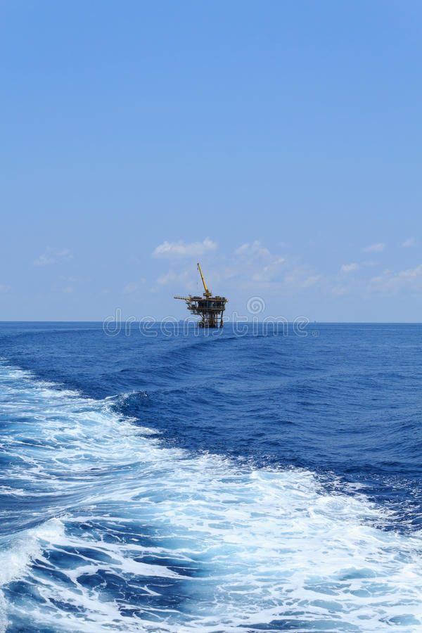 Offshore Production Platform in the Middle of Ocean stock images