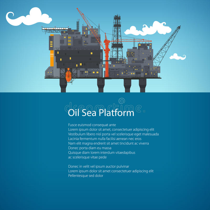 Offshore Sea Oil Platform Brochure Design vector illustration