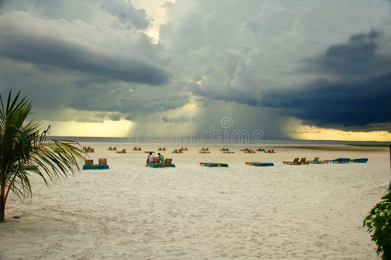 Offshore Thunderstorm Fort Myers Beach Florida. With foreground text space royalty free stock photography