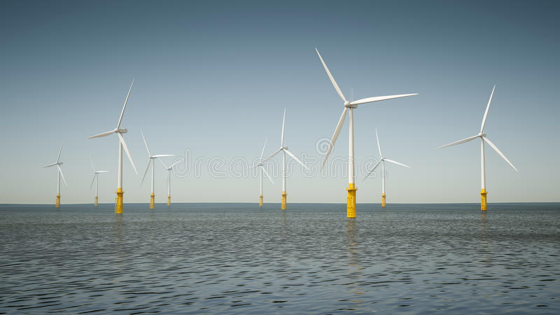 Offshore wind energy park royalty free stock images