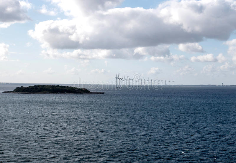 Offshore wind farm. The wind farm in the North Sea in the early morning stock photos
