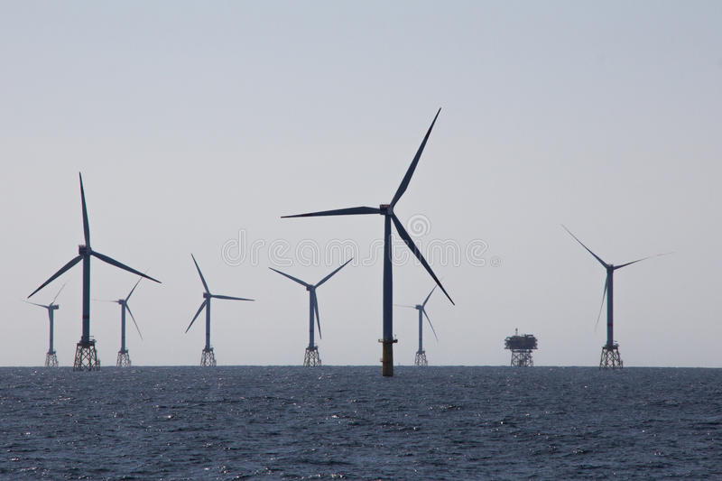 Offshore wind farm stock images