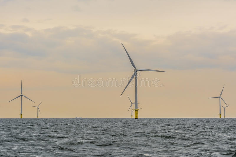 Offshore wind farm during sunset royalty free stock image