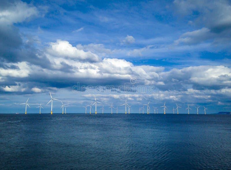 Offshore Wind Turbine in a Wind farm stock image