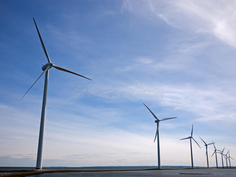 Offshore wind turbines royalty free stock photography