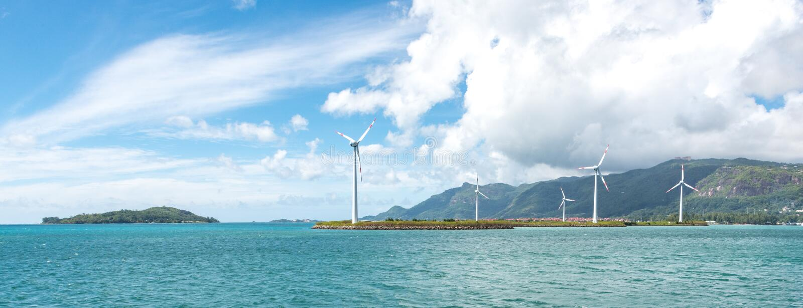 Offshore wind turbines in Seychelles stock photo