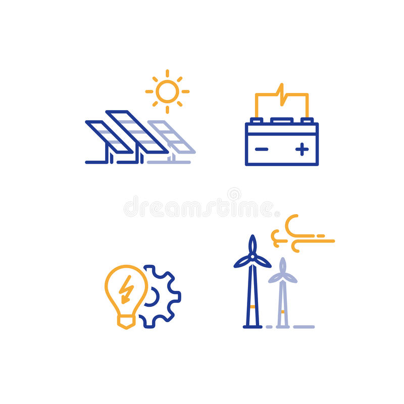 Offshore wind turbines and solar panels line icon, green energy concept logo. Solar panels and wind farm energy concept, offshore wind turbines, green stock illustration
