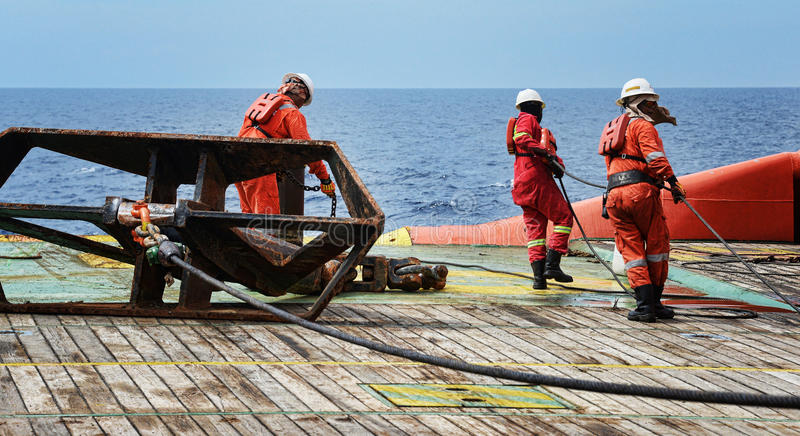 Offshore worker on deck stock photo