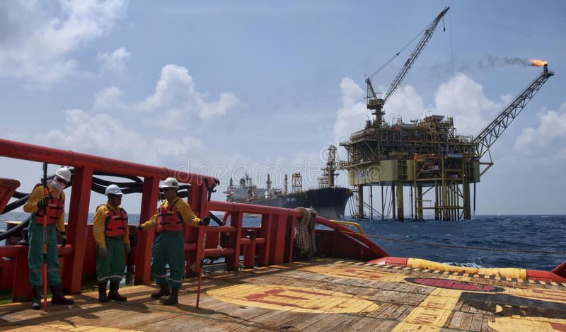 Offshore worker at south angsi lifting operation stock photos