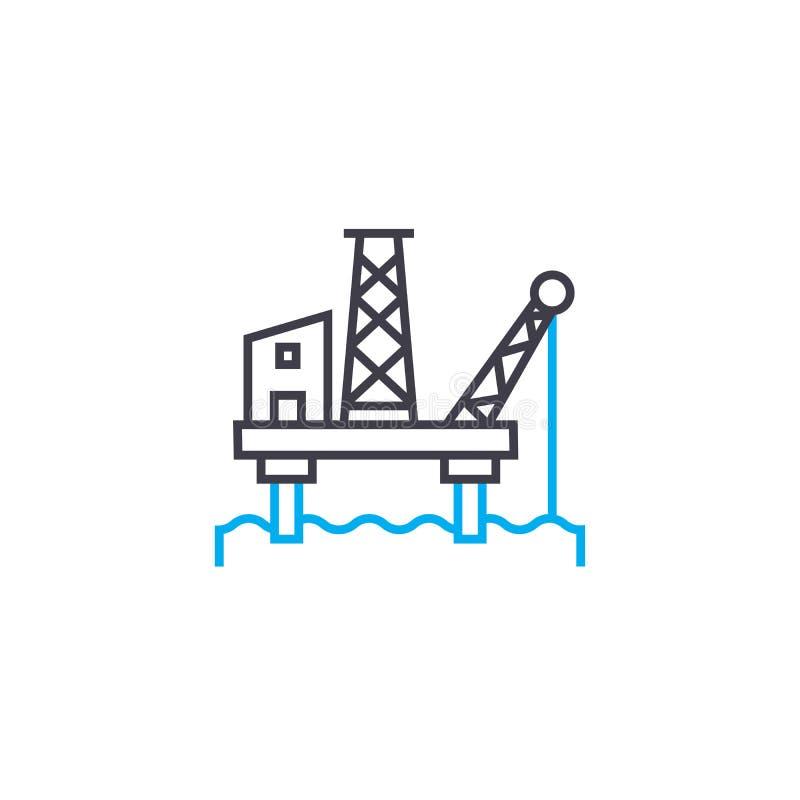 Offshorelineares Ikonenkonzept der erdölindustrie Offshoreerdölindustrielinie Vektorzeichen, Symbol, Illustration vektor abbildung