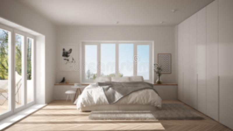 Offuschi l'interior design del fondo, camera da letto minimalista bianca e verde scandinava con la finestra panoramica, tappeto d fotografie stock
