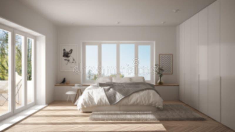 Offuschi l'interior design del fondo, camera da letto minimalista bianca e verde scandinava con la finestra panoramica, tappeto d royalty illustrazione gratis