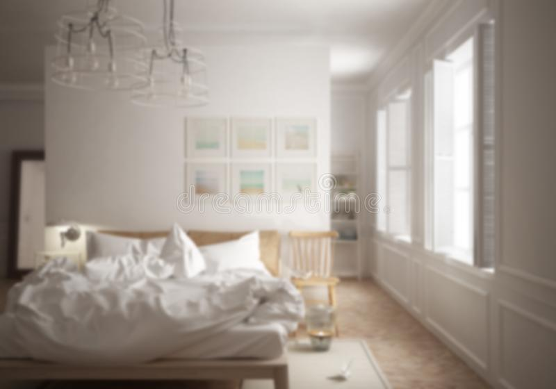Offuschi l'interior design del fondo, la camera da letto minima scandinava con il letto sudicio e la grande finestra fotografie stock libere da diritti