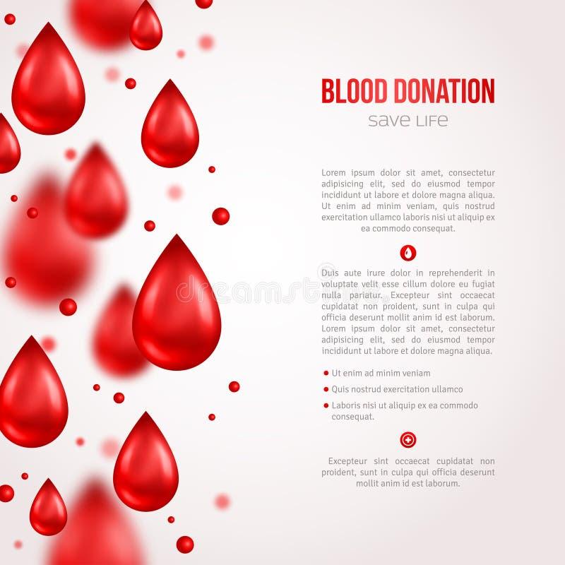 Ofiarodawca plakat lub ulotka Krwionośna darowizna Ratujący życie ilustracji