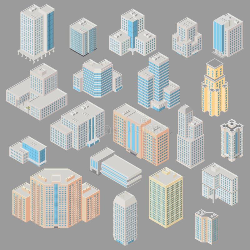 Ofice ajustado do ícone, prédios de apartamentos ilustração stock