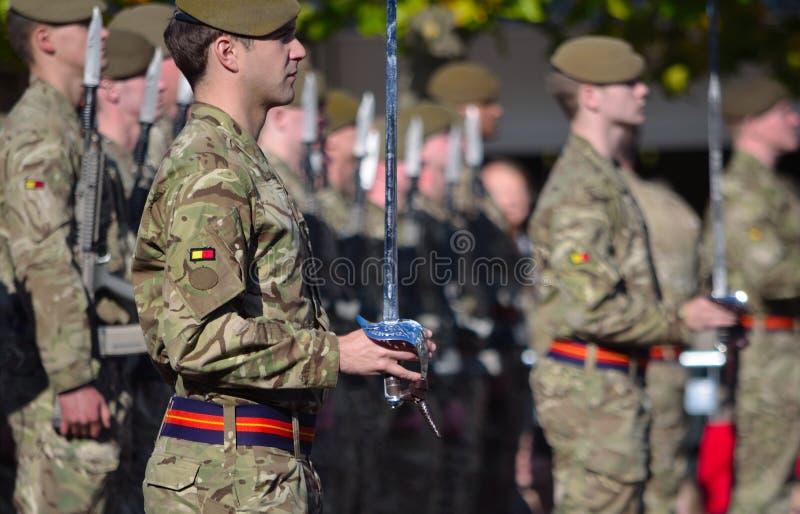 Oficery i oddziały wojskowi Królewski Anglian pułk obrazy stock