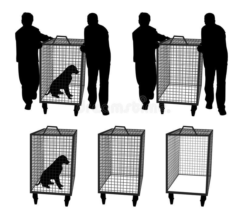 Oficiais de controle animais com o cão na gaiola ou na gaiola vazia ilustração stock