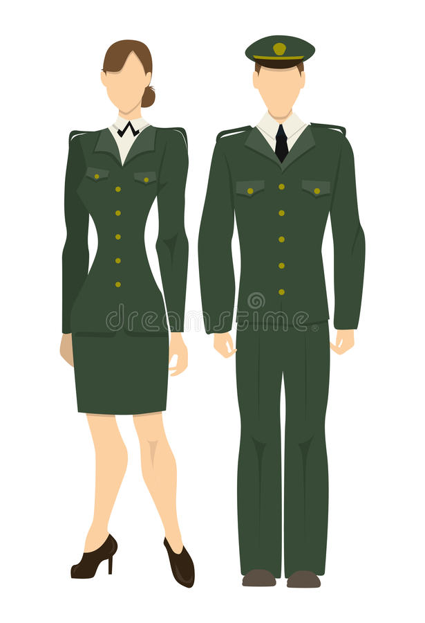 oficiais do exército profissionais ilustração royalty free