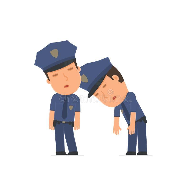 Oficial cansado y agotado del carácter que duerme en el hombro o ilustración del vector