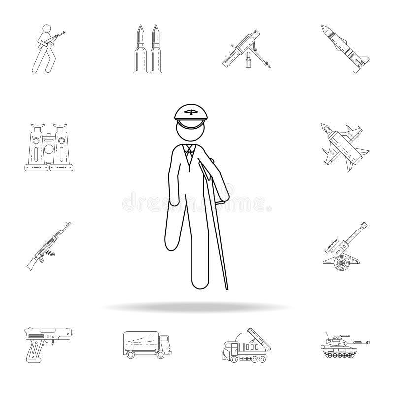 oficial com um ícone ferido do pé Grupo universal dos ícones do exército para a Web e o móbil ilustração stock