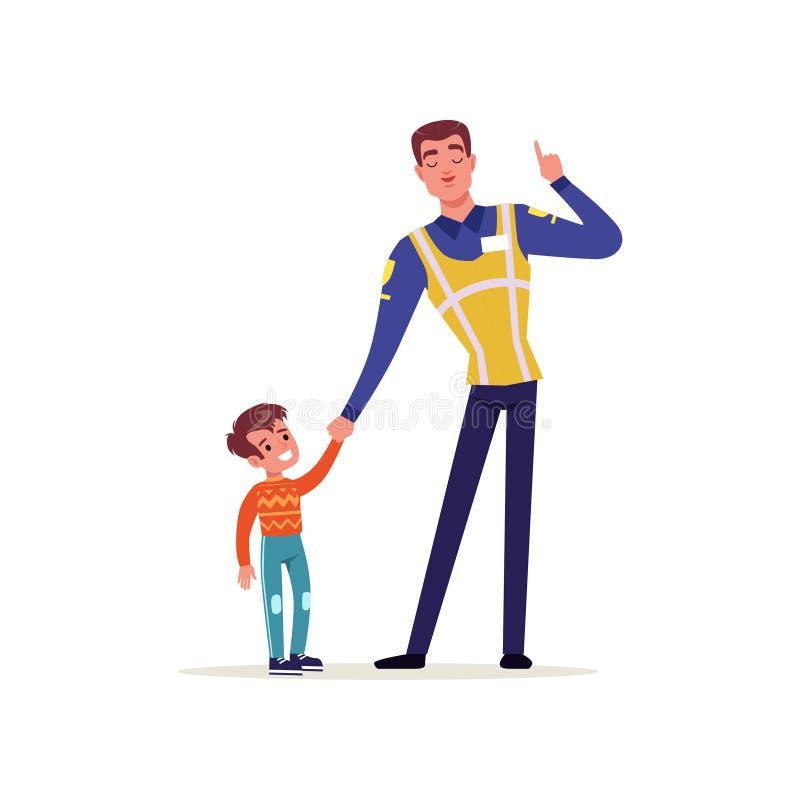 Oficial da polícia de trânsito no uniforme com a veste alta e o rapaz pequeno da visibilidade que guardam as mãos, caráter do pol ilustração royalty free