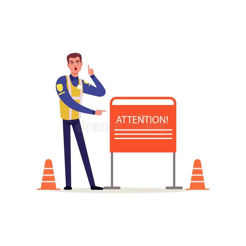 Oficial da polícia de trânsito no uniforme com a veste alta da visibilidade que aponta no sinal da atenção, caráter do polícia no ilustração royalty free