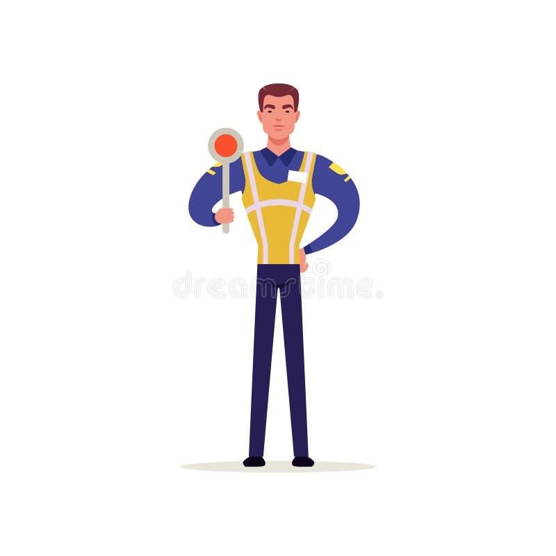 Oficial da polícia de trânsito no uniforme com a veste alta da visibilidade que mostra o sinal de tráfego, caráter do polícia no  ilustração royalty free