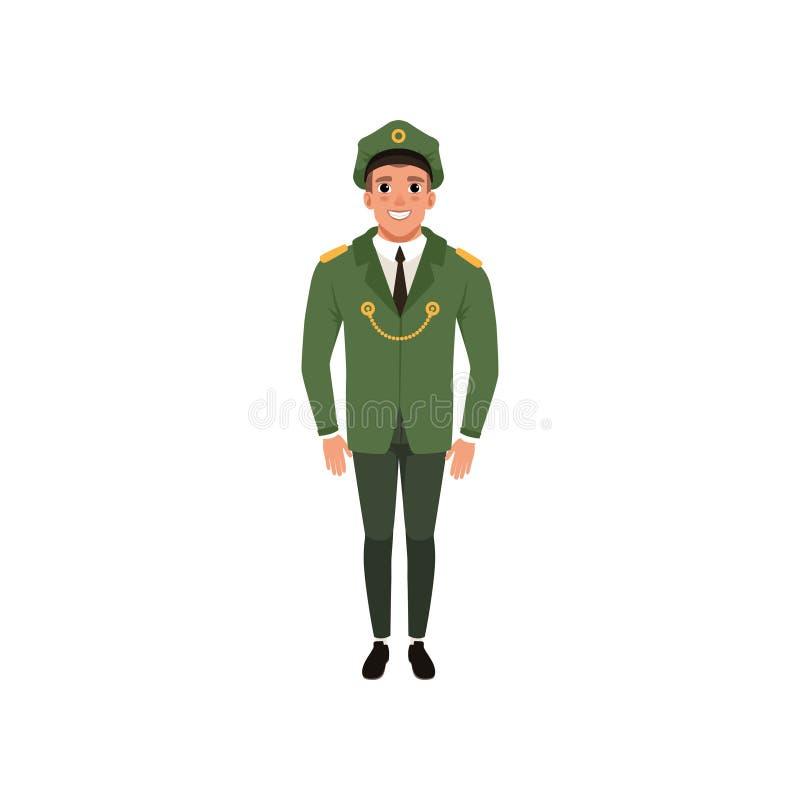 Oficial de ejército en desgaste formal: chaqueta verde, pantalones y casquillo enarbolado Tema militar Personaje de dibujos anima ilustración del vector