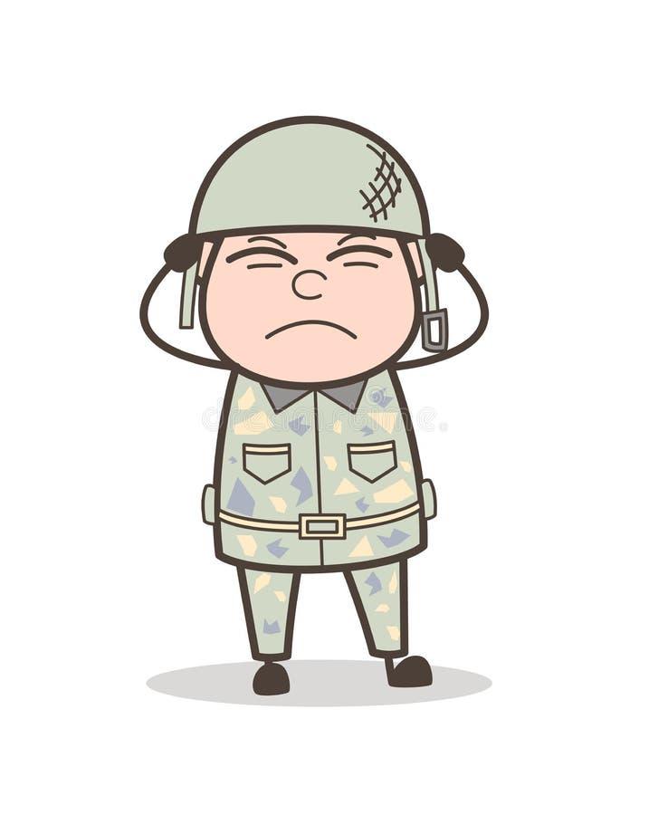 Oficial de ejército irritado historieta Expression Vector Illustration stock de ilustración