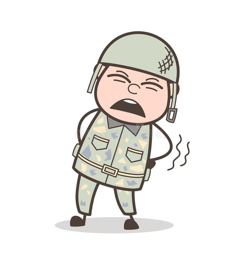Oficial de ejército de la historieta Getting Ache en el ejemplo del vector de la cintura stock de ilustración