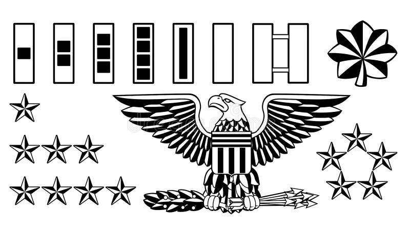 Oficial de ejército militar Rank Insignia stock de ilustración