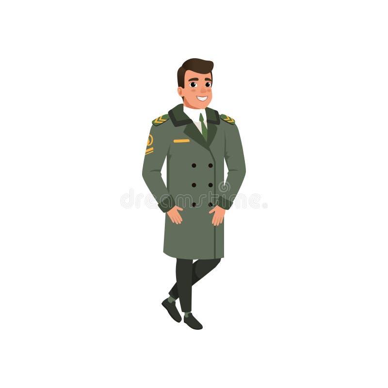 Oficial de la aviación en capa verde con las rayas espesas Personaje de dibujos animados del piloto del ejército Diseño plano col libre illustration