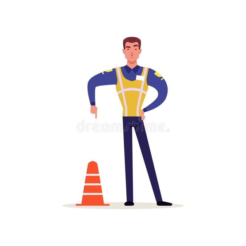 Oficial de la policía de tráfico en uniforme con el alto chaleco de la visibilidad que coloca y que muestra gesto de mano con el  stock de ilustración
