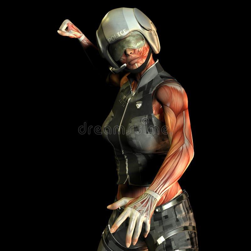 Oficial de polícia da mulher do músculo do estudo ilustração stock